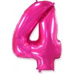 Воздушный шар (40''/102 см) Цифра, 4, Фуше, 1 шт.